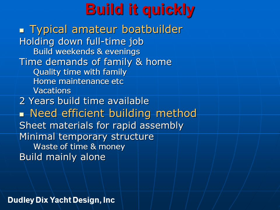 Build it quickly Typical amateur boatbuilder