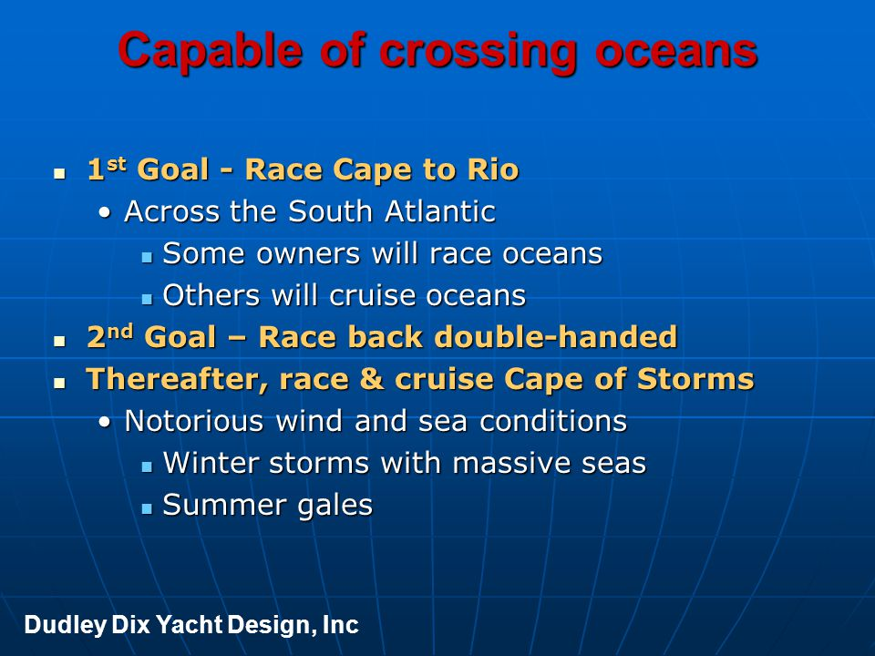 Capable of crossing oceans