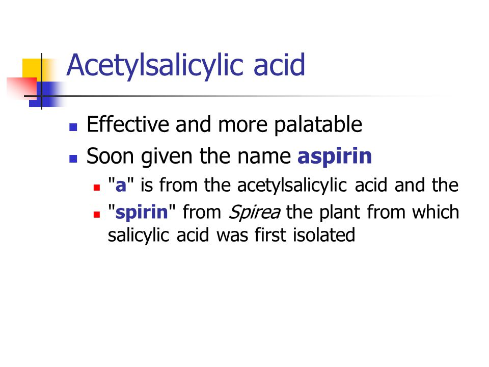 Acetylsalicylic acid Effective and more palatable
