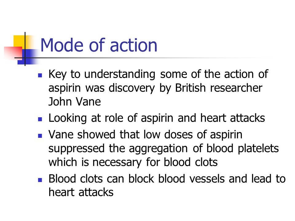 Mode of action Key to understanding some of the action of aspirin was discovery by British researcher John Vane.