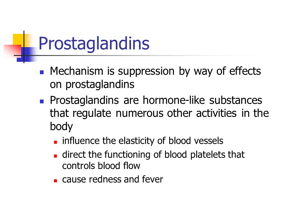 Prostaglandins Mechanism is suppression by way of effects on prostaglandins.