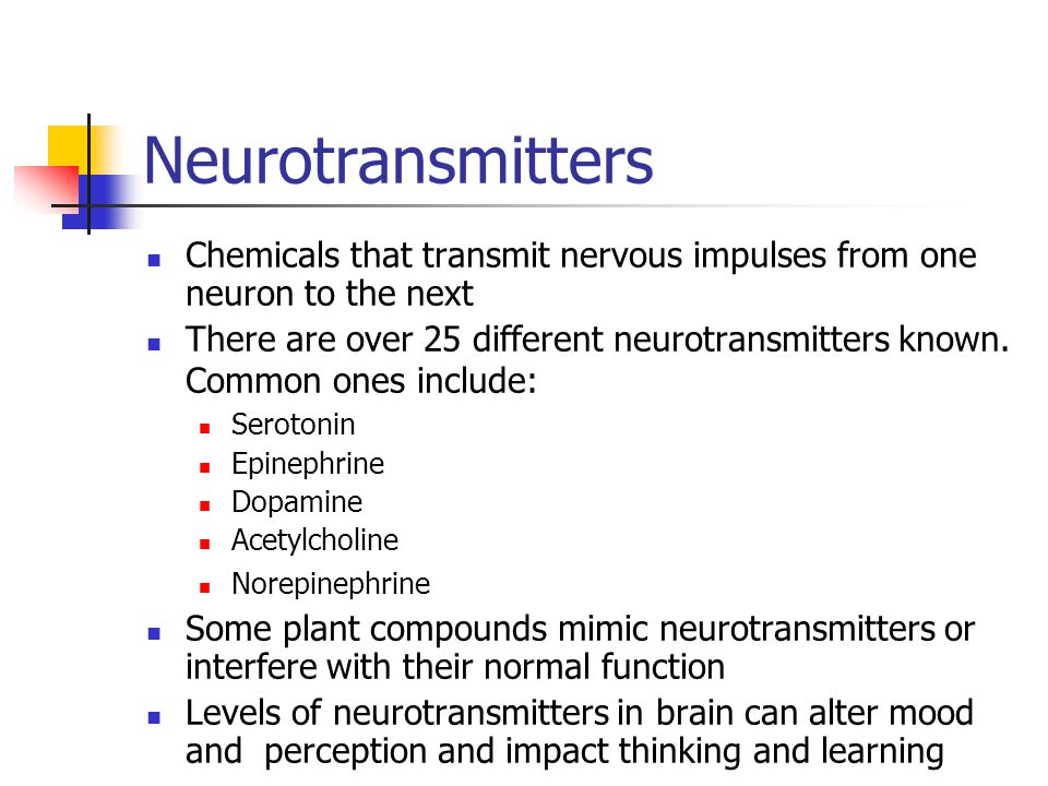 Neurotransmitters Chemicals that transmit nervous impulses from one neuron to the next.