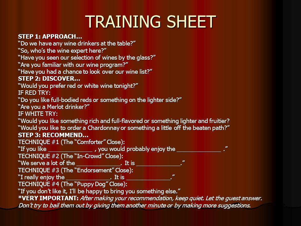 TRAINING SHEET STEP 1: APPROACH…