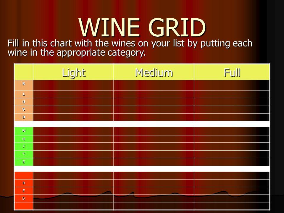 WINE GRID Light Medium Full