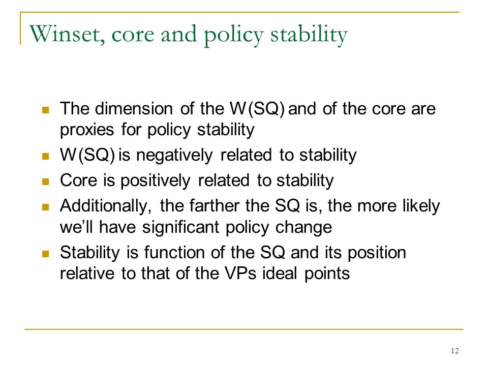Winset, core and policy stability