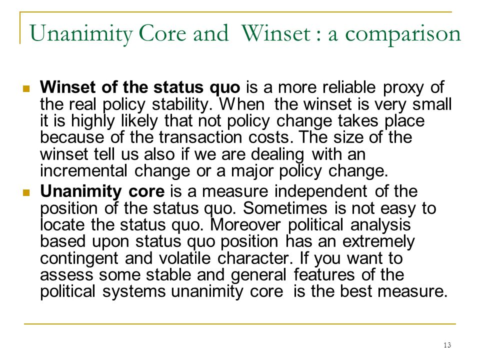 Unanimity Core and Winset : a comparison
