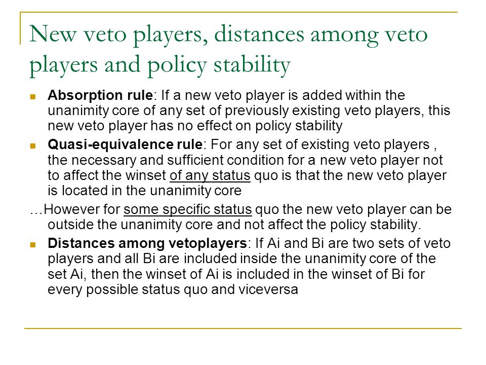 New veto players, distances among veto players and policy stability