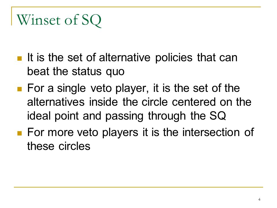 Winset of SQ It is the set of alternative policies that can beat the status quo.