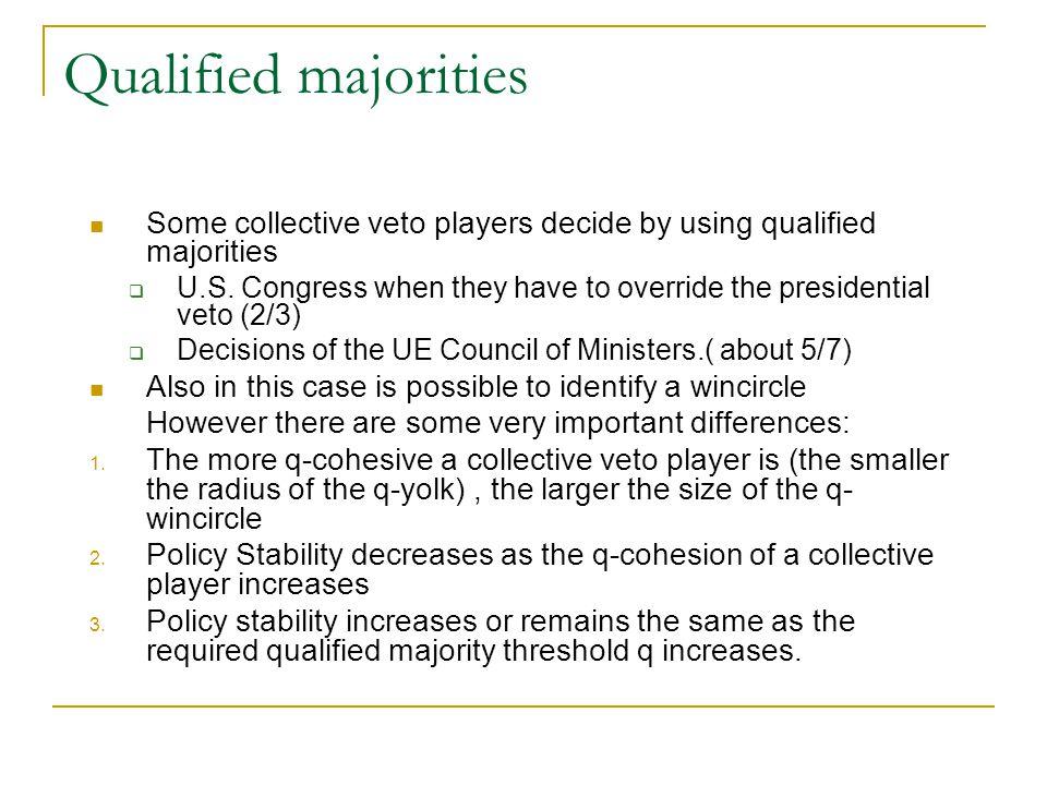 Qualified majorities Some collective veto players decide by using qualified majorities.