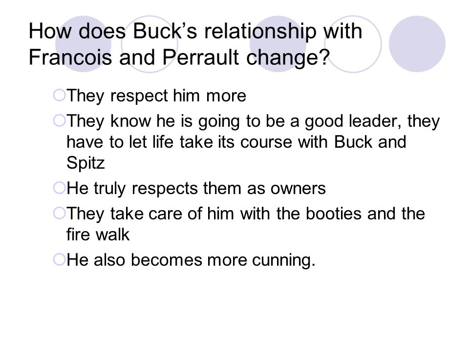 How does Buck's relationship with Francois and Perrault change