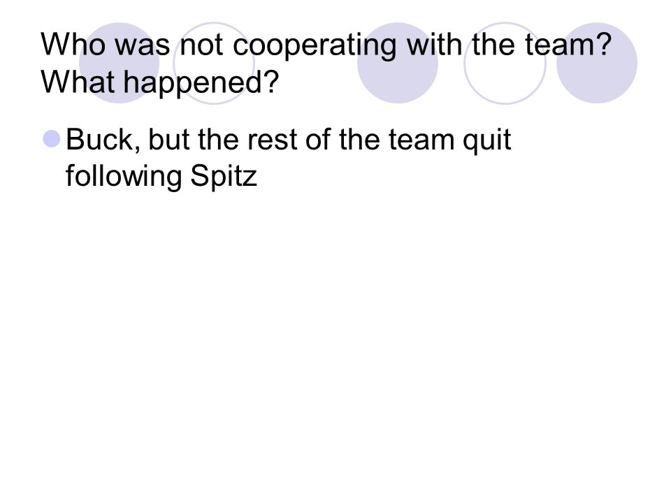 Who was not cooperating with the team What happened