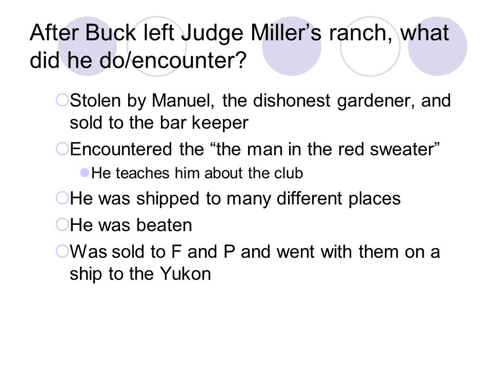 After Buck left Judge Miller's ranch, what did he do/encounter