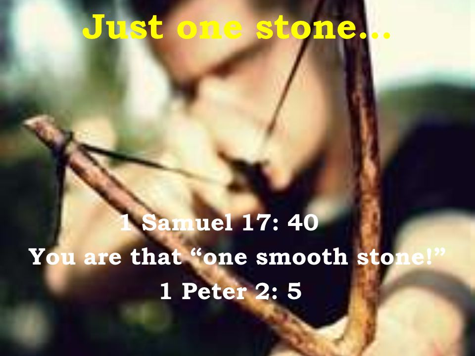 Just one stone… 1 Samuel 17: 40 You are that one smooth stone! 1 Peter 2: 5