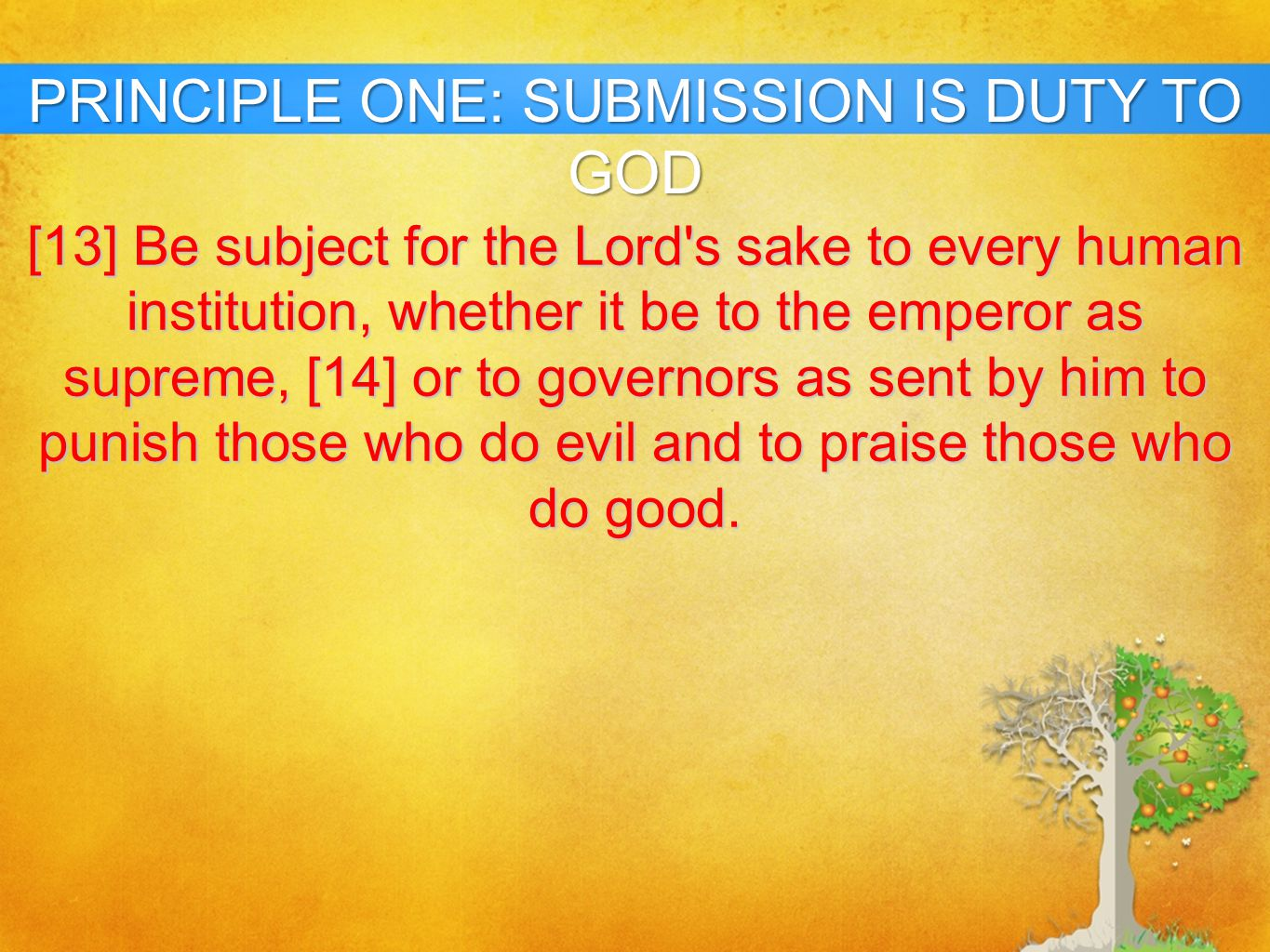 PRINCIPLE ONE: SUBMISSION IS DUTY TO GOD
