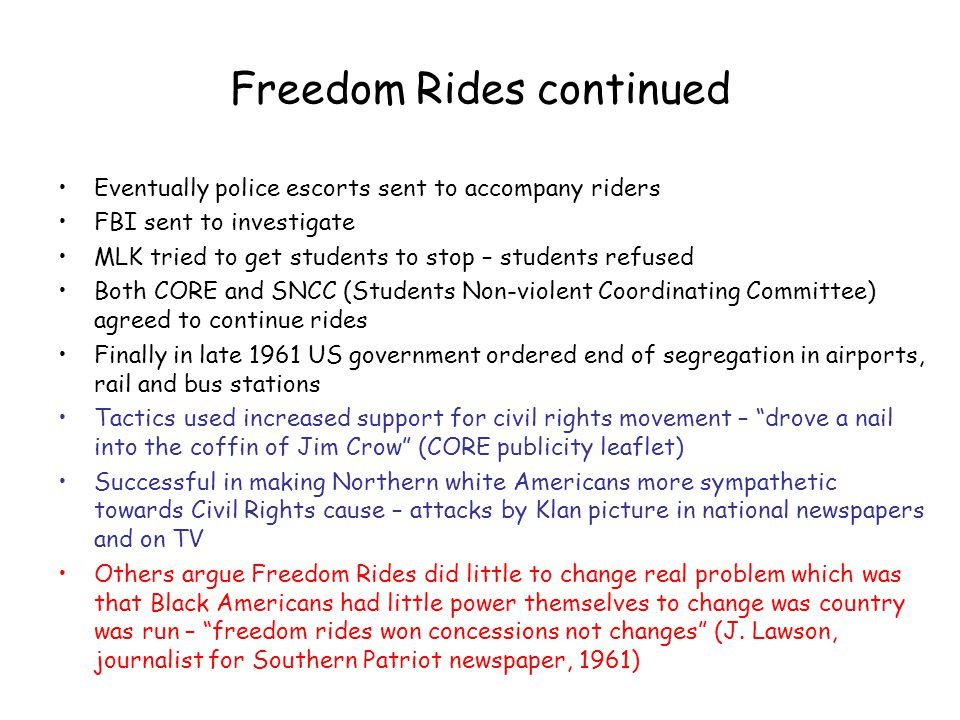 Freedom Rides continued