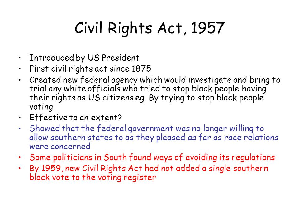 Civil Rights Act, 1957 Introduced by US President