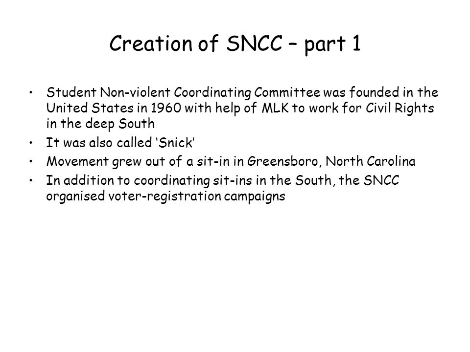 Creation of SNCC – part 1