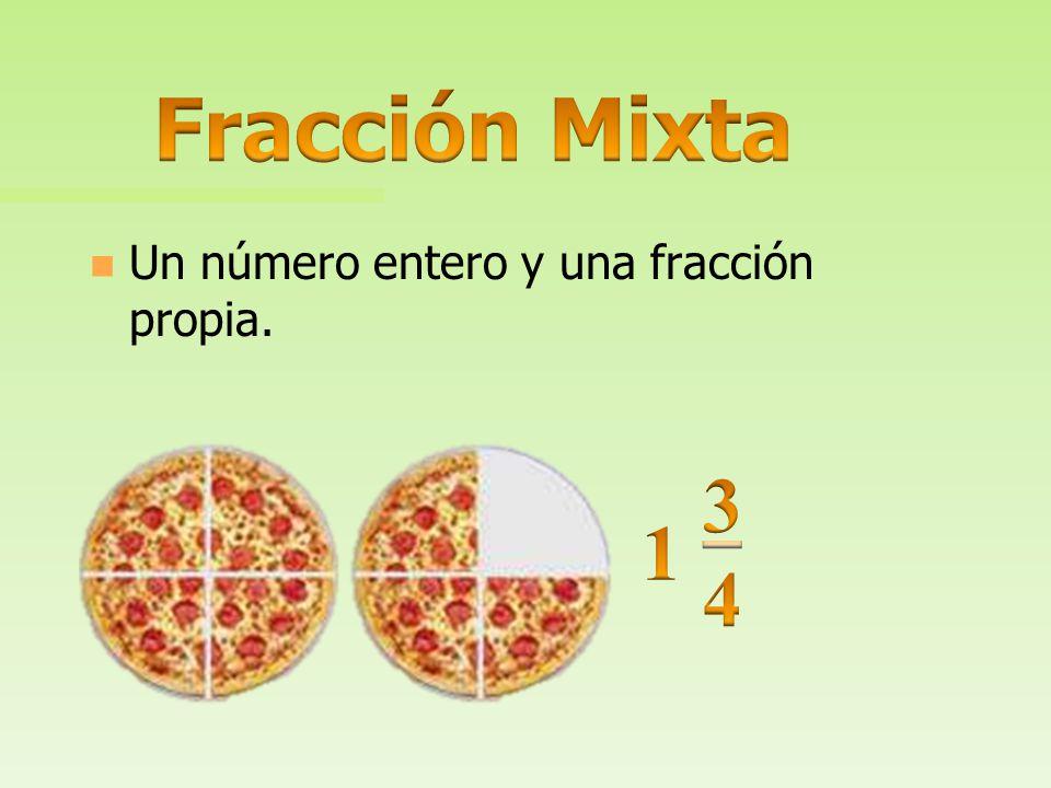 Fracción Mixta Un número entero y una fracción propia. 3 4 1