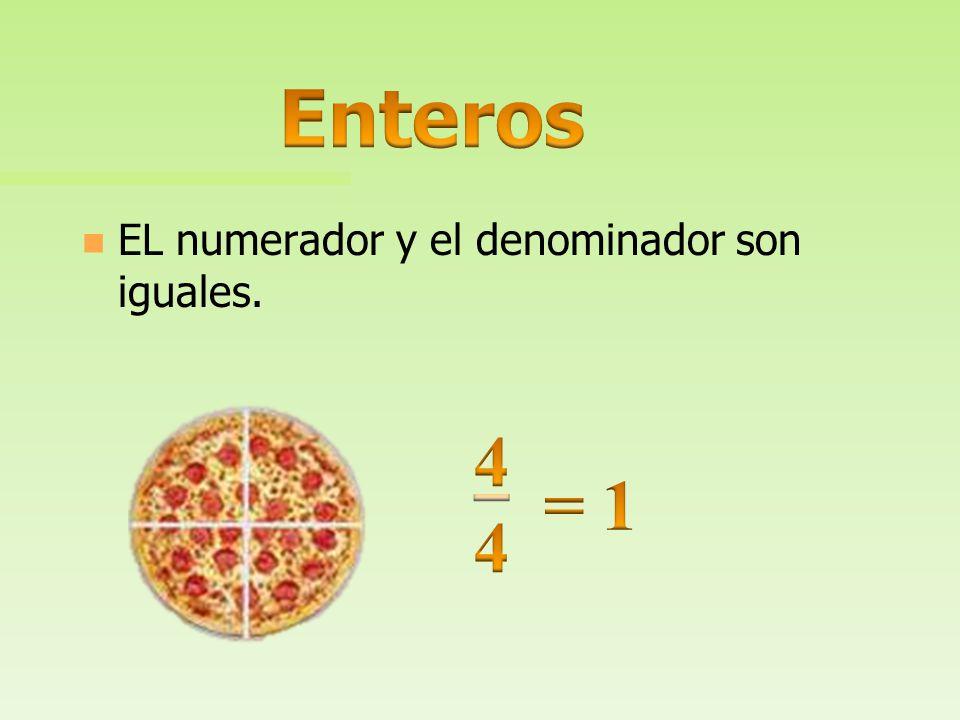 Enteros EL numerador y el denominador son iguales. 4 = 1