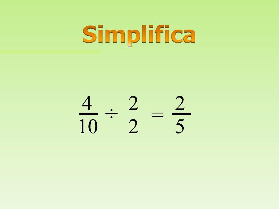 Simplifica 4 2 2 ÷ = 10 2 5