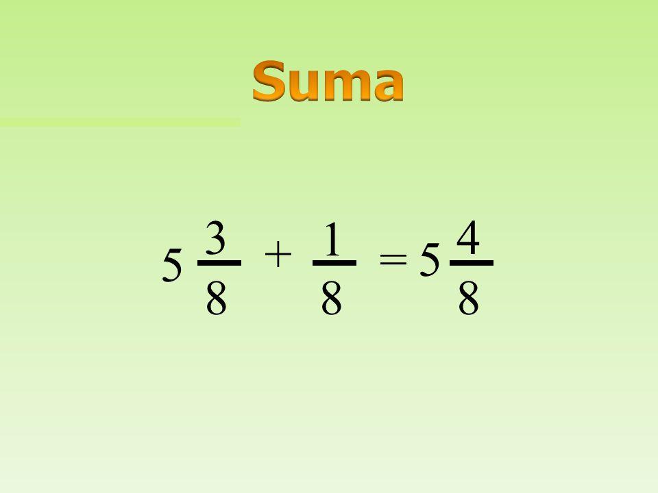 Suma 3 1 4 + = 5 5 8 8 8