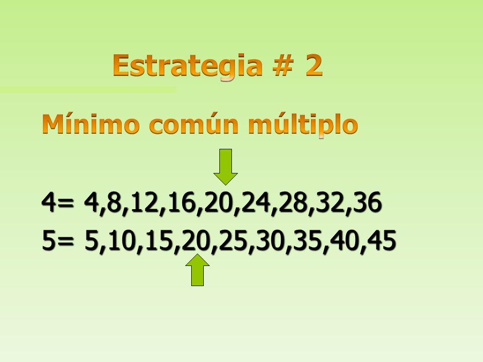Estrategia # 2 Mínimo común múltiplo 4= 4,8,12,16,20,24,28,32,36 5= 5,10,15,20,25,30,35,40,45