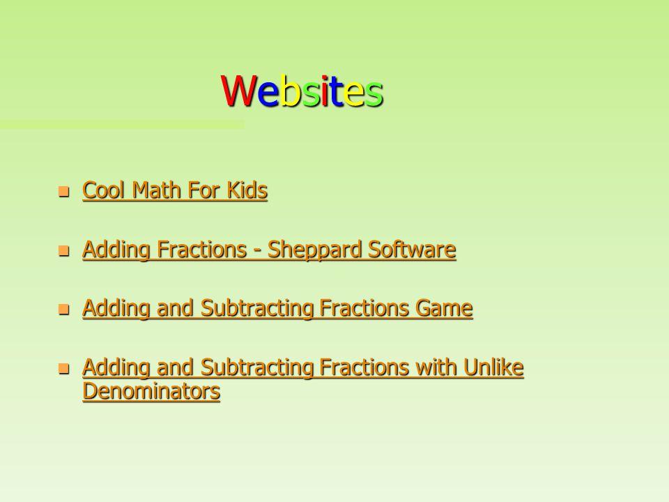 Websites Cool Math For Kids Adding Fractions - Sheppard Software