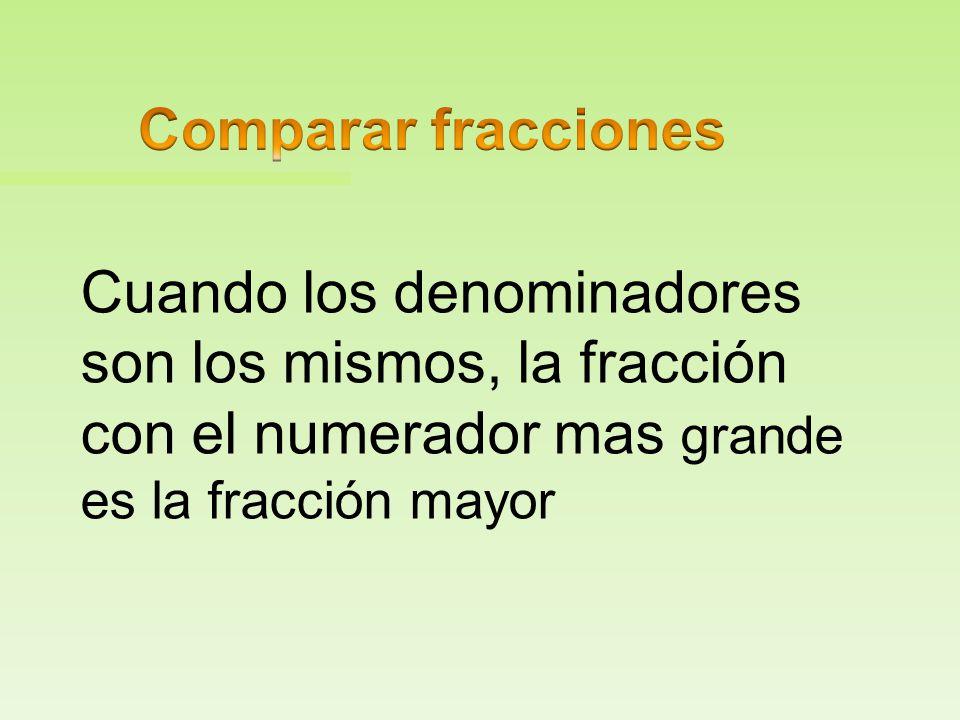 Comparar fracciones Cuando los denominadores son los mismos, la fracción con el numerador mas grande es la fracción mayor.
