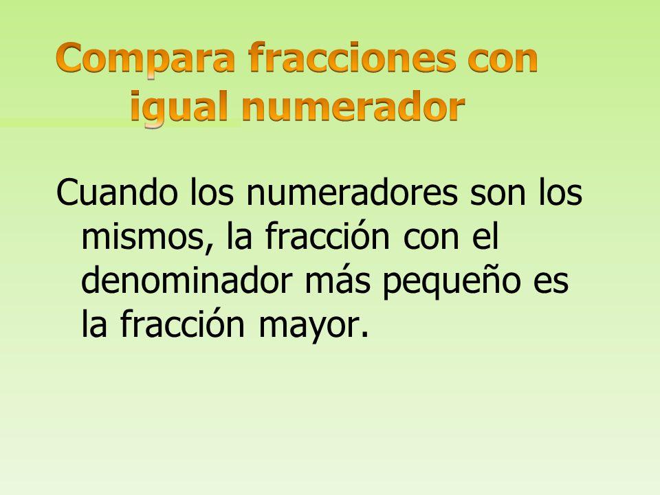 Compara fracciones con igual numerador