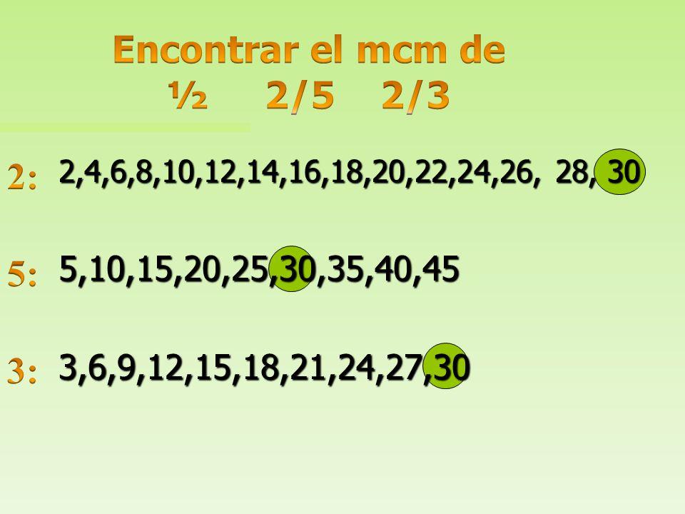 Encontrar el mcm de ½ 2/5 2/3 2: 5: 3: 5,10,15,20,25,30,35,40,45