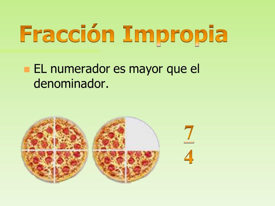 Fracción Impropia EL numerador es mayor que el denominador. 7 4