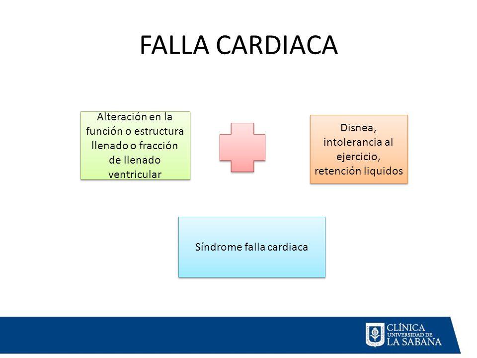 FALLA CARDIACA Alteración en la función o estructura llenado o fracción de llenado ventricular.