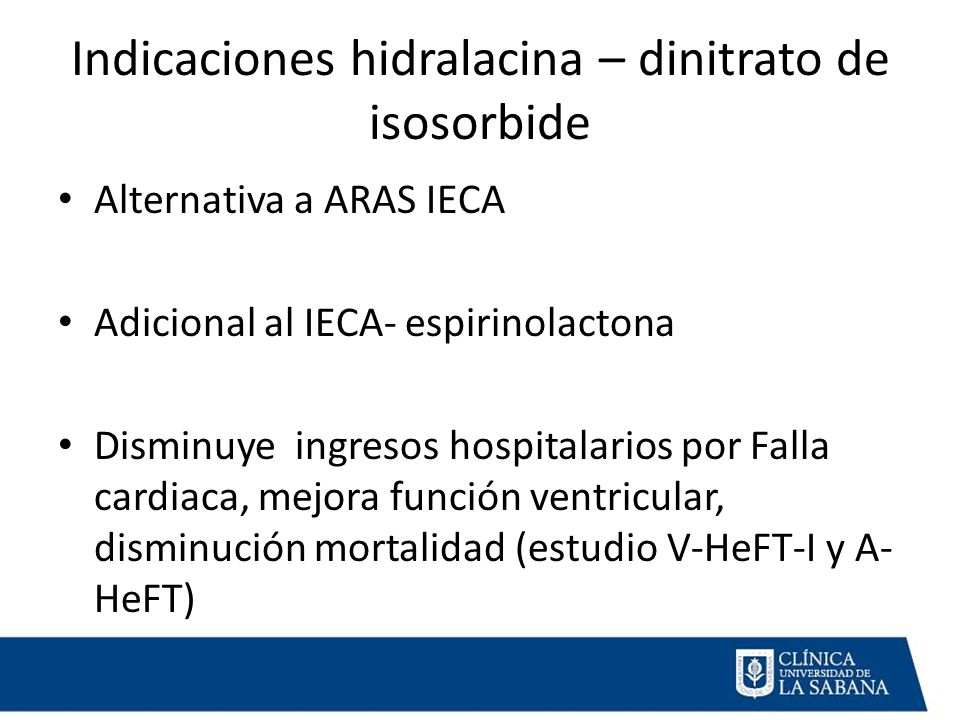 Indicaciones hidralacina – dinitrato de isosorbide
