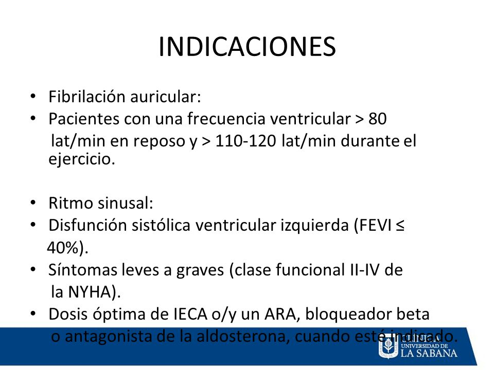 INDICACIONES Fibrilación auricular: