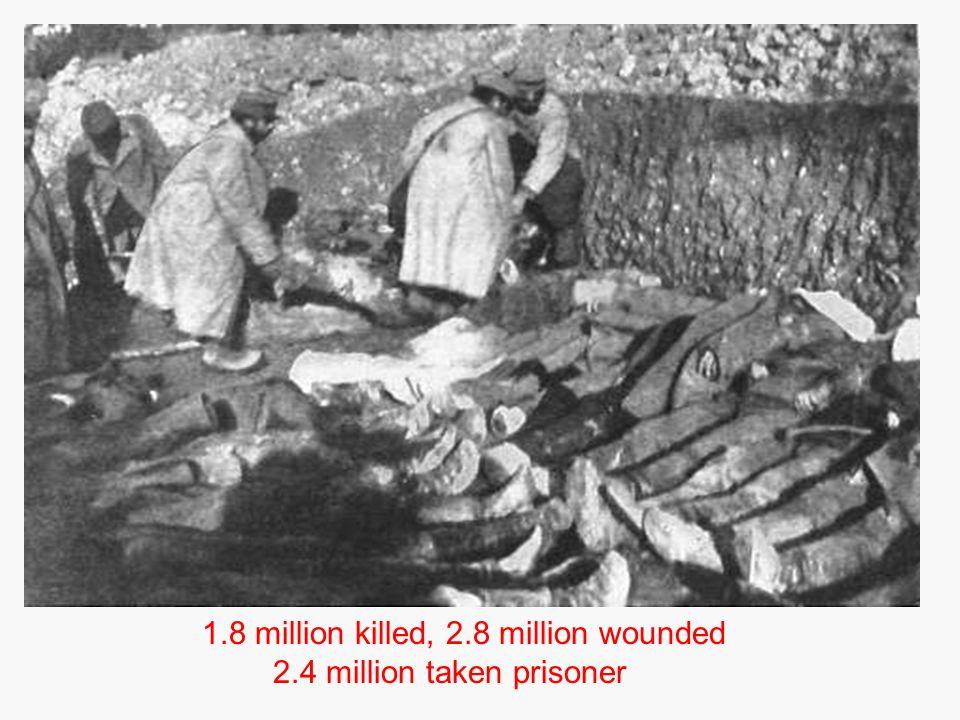 1.8 million killed, 2.8 million wounded 2.4 million taken prisoner