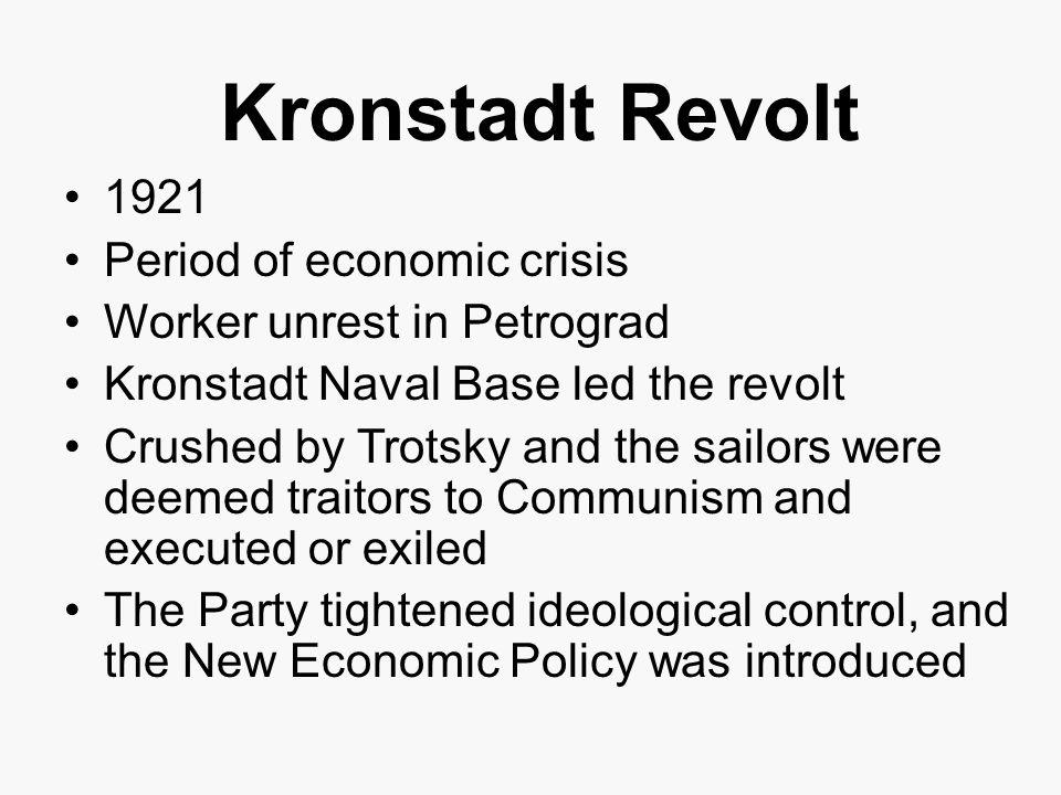 Kronstadt Revolt 1921 Period of economic crisis