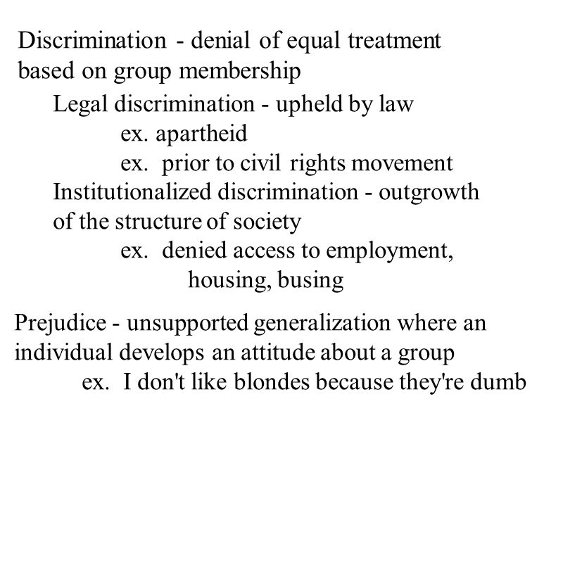 Discrimination - denial of equal treatment based on group membership