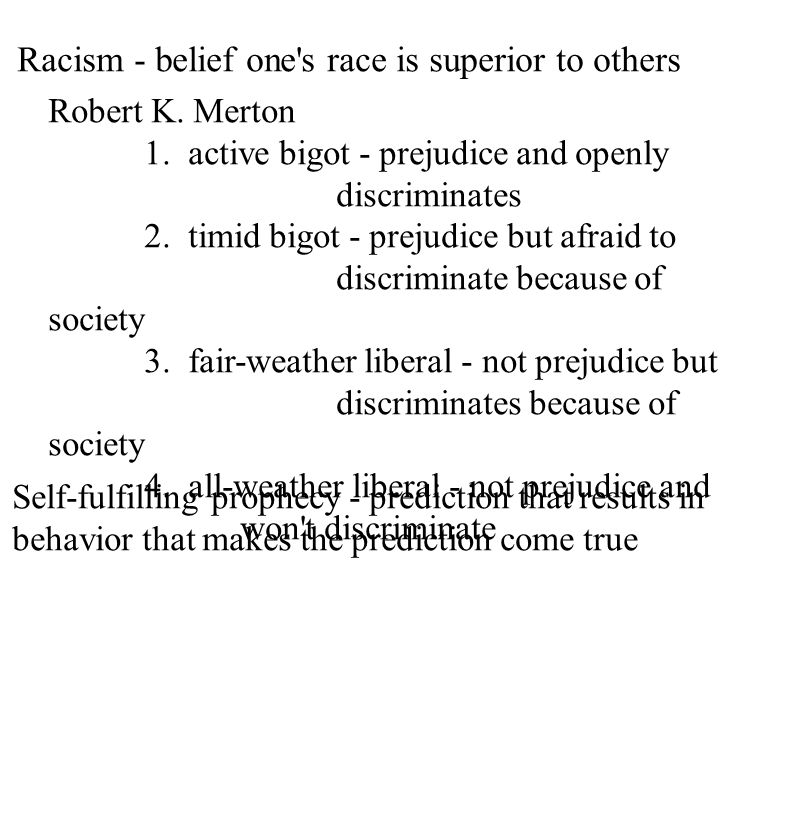 Racism - belief one s race is superior to others