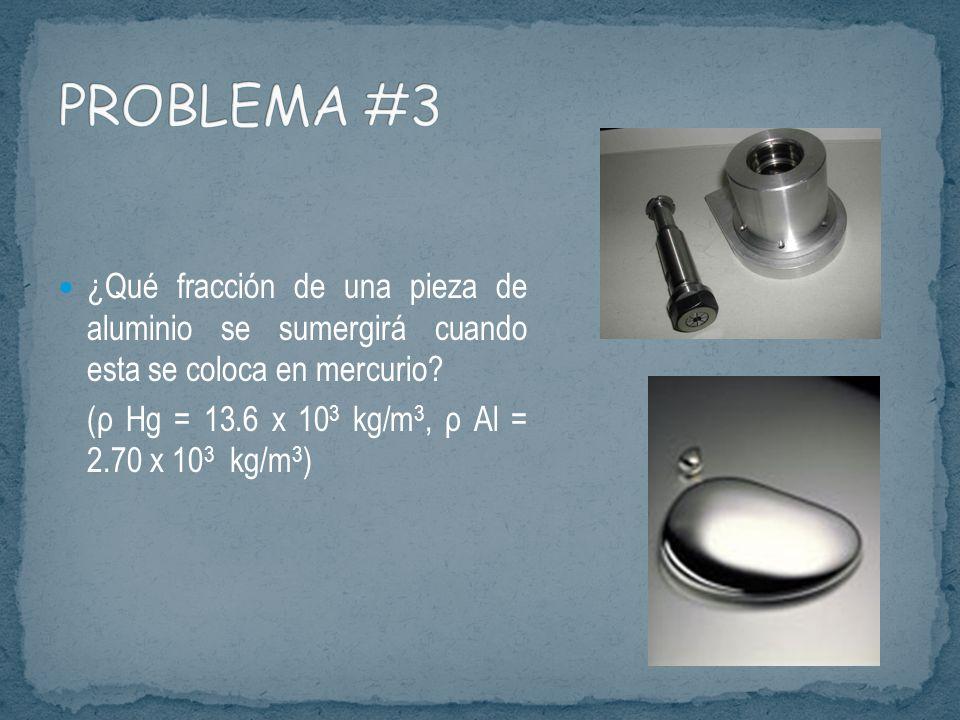 PROBLEMA #3 ¿Qué fracción de una pieza de aluminio se sumergirá cuando esta se coloca en mercurio