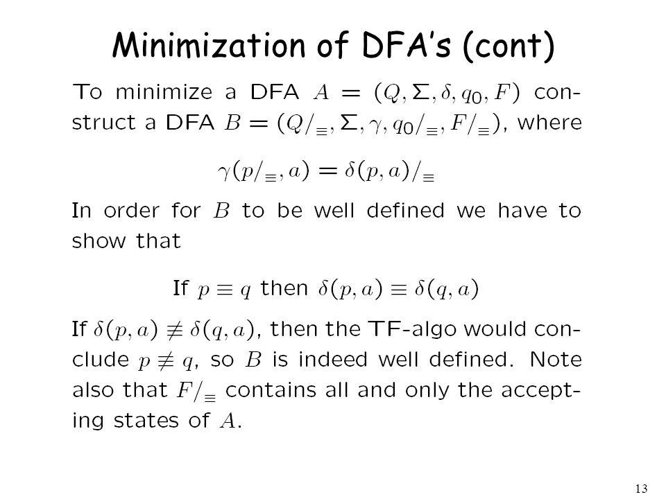 Minimization of DFA's (cont)