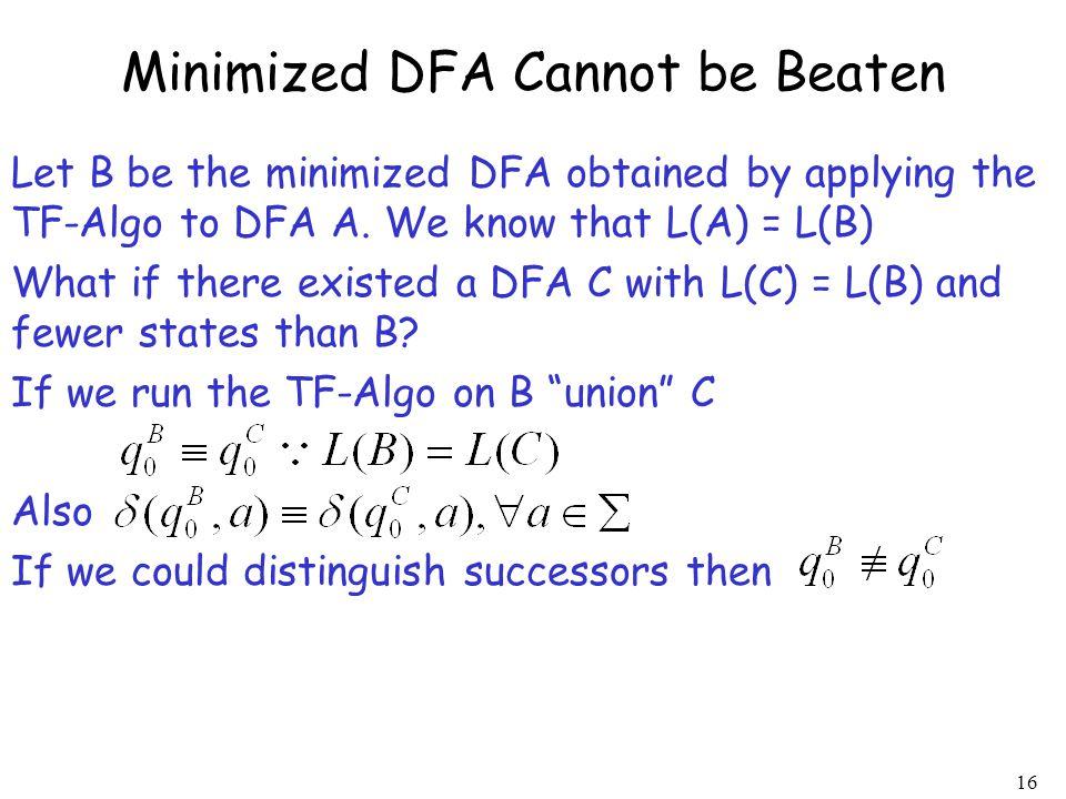Minimized DFA Cannot be Beaten