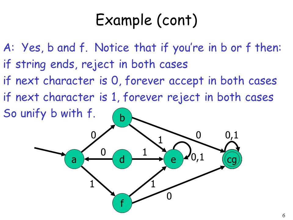 Example (cont) A: Yes, b and f. Notice that if you're in b or f then: