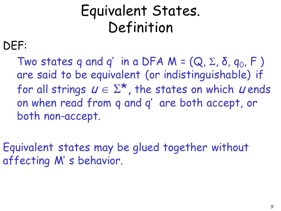 Equivalent States. Definition