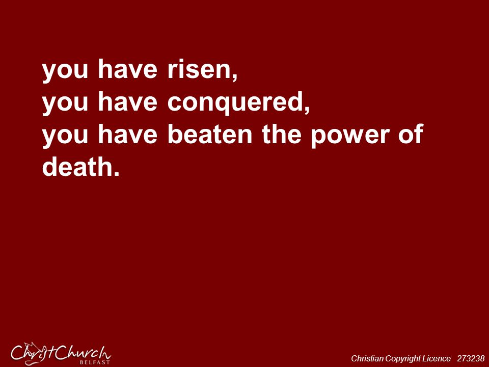 you have risen, you have conquered, you have beaten the power of death.