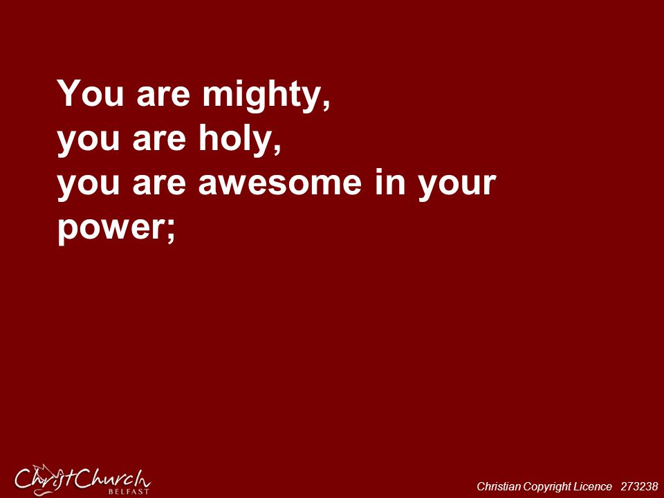You are mighty, you are holy, you are awesome in your power;