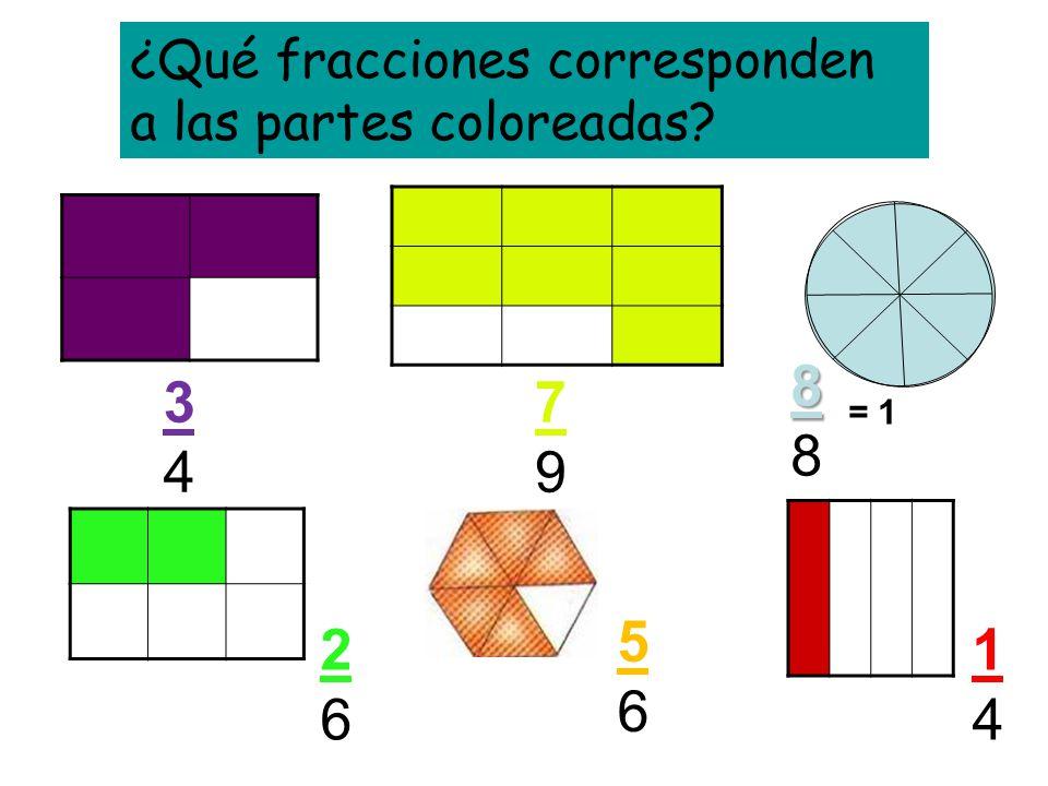 ¿Qué fracciones corresponden a las partes coloreadas