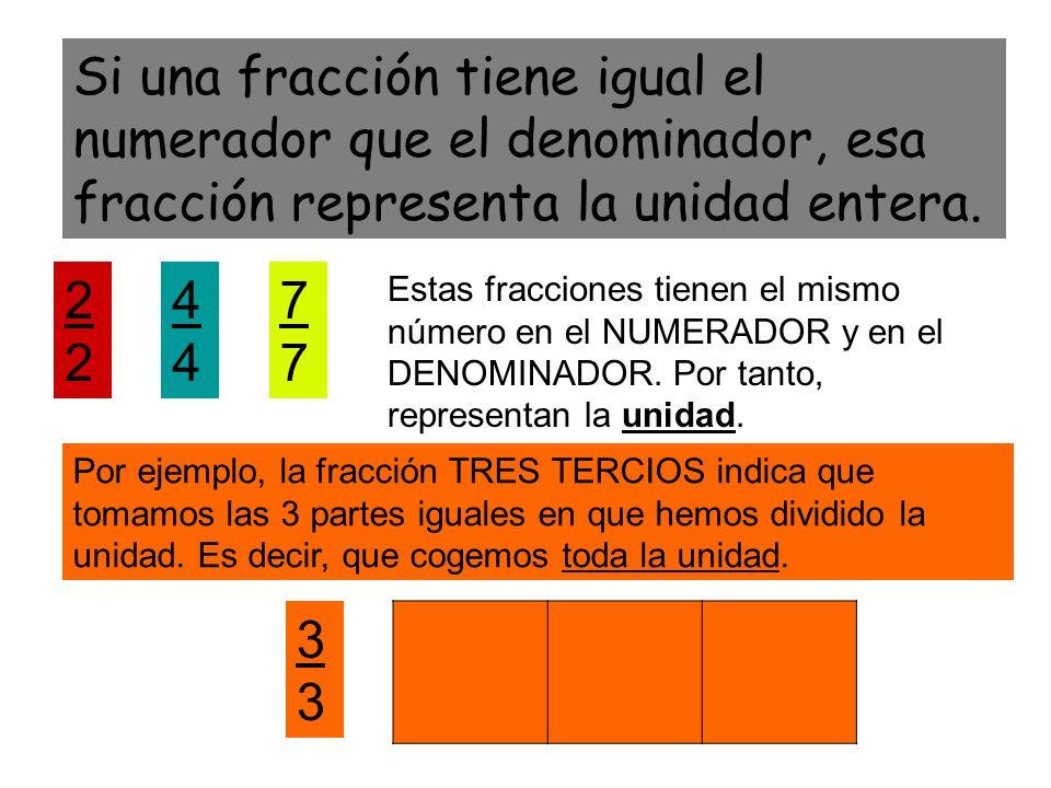 Si una fracción tiene igual el numerador que el denominador, esa fracción representa la unidad entera.