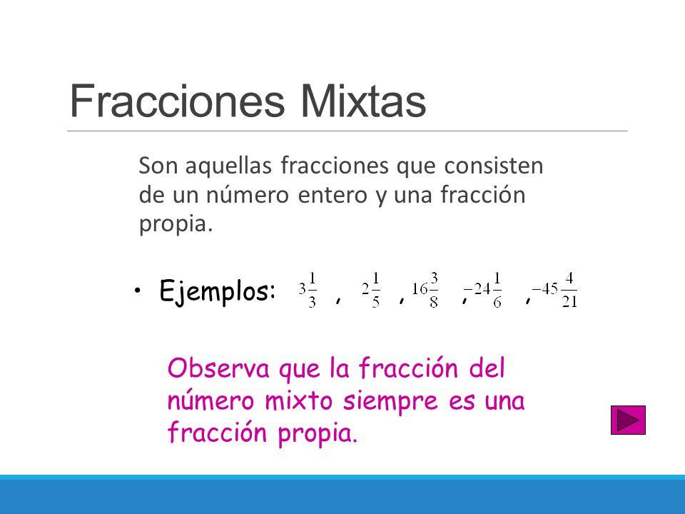 Fracciones Mixtas Son aquellas fracciones que consisten de un número entero y una fracción propia.