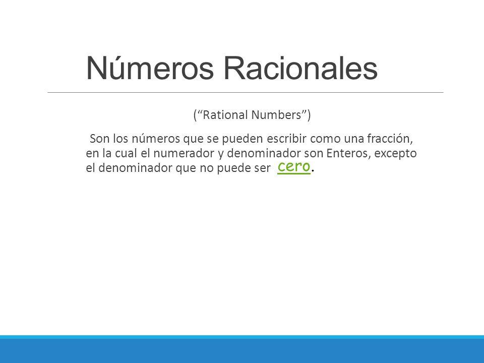 Números Racionales cero.