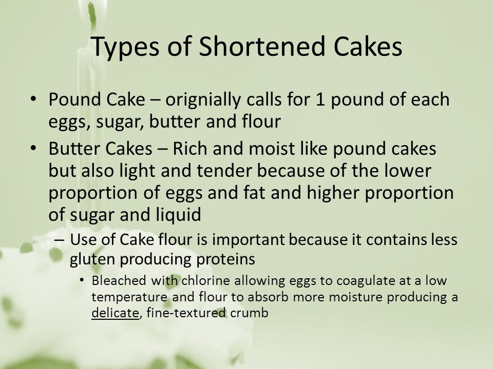 Types of Shortened Cakes